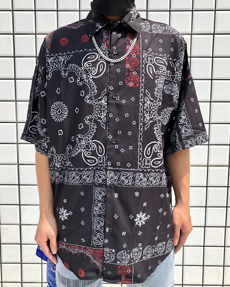 ドロップショルダーパッチワークバンダナ柄ペイズリー半袖シャツの画像1